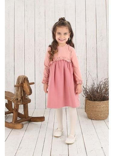 Nila Kids Somon Pembe Robalı Kız Bebek Organik Elbise NK09006SM (6 AY- 5 YAş) Somon
